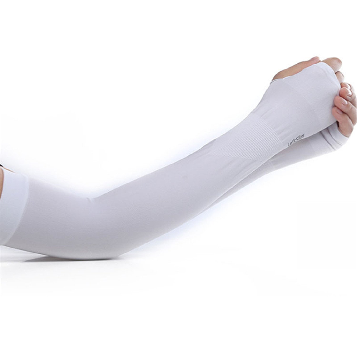 Fashion Ice Silk Sunscreen Gloves Women and Men Long Summer Sleeves Thin Men Anti-UV Solid Arm Warmers Sleeves White