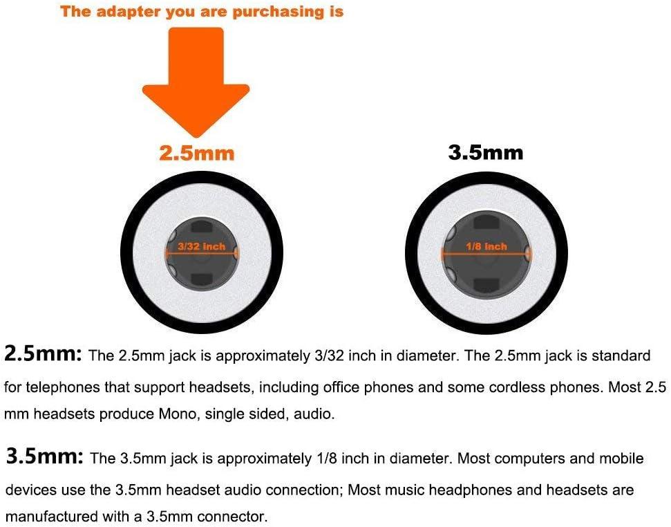 RJ9//RJ10//RJ22 Headset Plug Adapter Converter Only for Phones T19 T20 T21 T22 T23 T26 T27 T28 T29 T32 T36 T38 T40 T41 T42 T46 T48 T52 T54 Headset Adapter for 2.5mm Headset