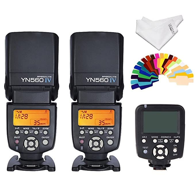 Yongnuo 2pcs YN560 IV Flash kit YN560TX LCD Wireless Flash Controller For Nikon Cameras & Photography at amazon