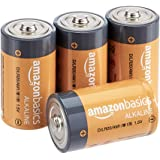Amazon Basics 4 Pack D Cell All-Purpose Alkaline Batteries, 5-Year Shelf Life, Easy to Open Value Pack