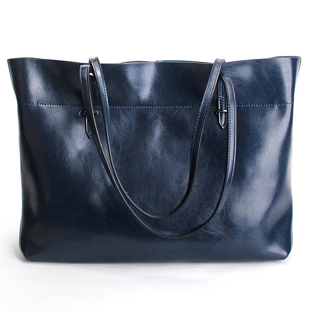 SUNROLAN Women's Large Genuine Leather Shopping Handbag Style Multi-Purpose 2-1 Tote Shoulder Bags (Large, Navy Blue) by SUNROLAN