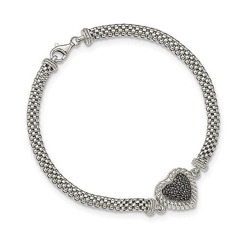 Pulsera de plata de ley con zirconia cúbica negra y corazón de malla - 20 centímetros: Amazon.es: Joyería