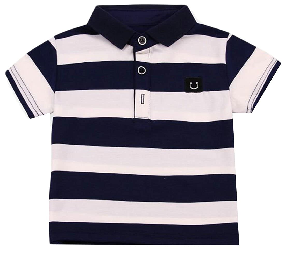 Cromoncent Boys Toddler Short Sleeve Striped Cotton Henley Polo T Shirt Top
