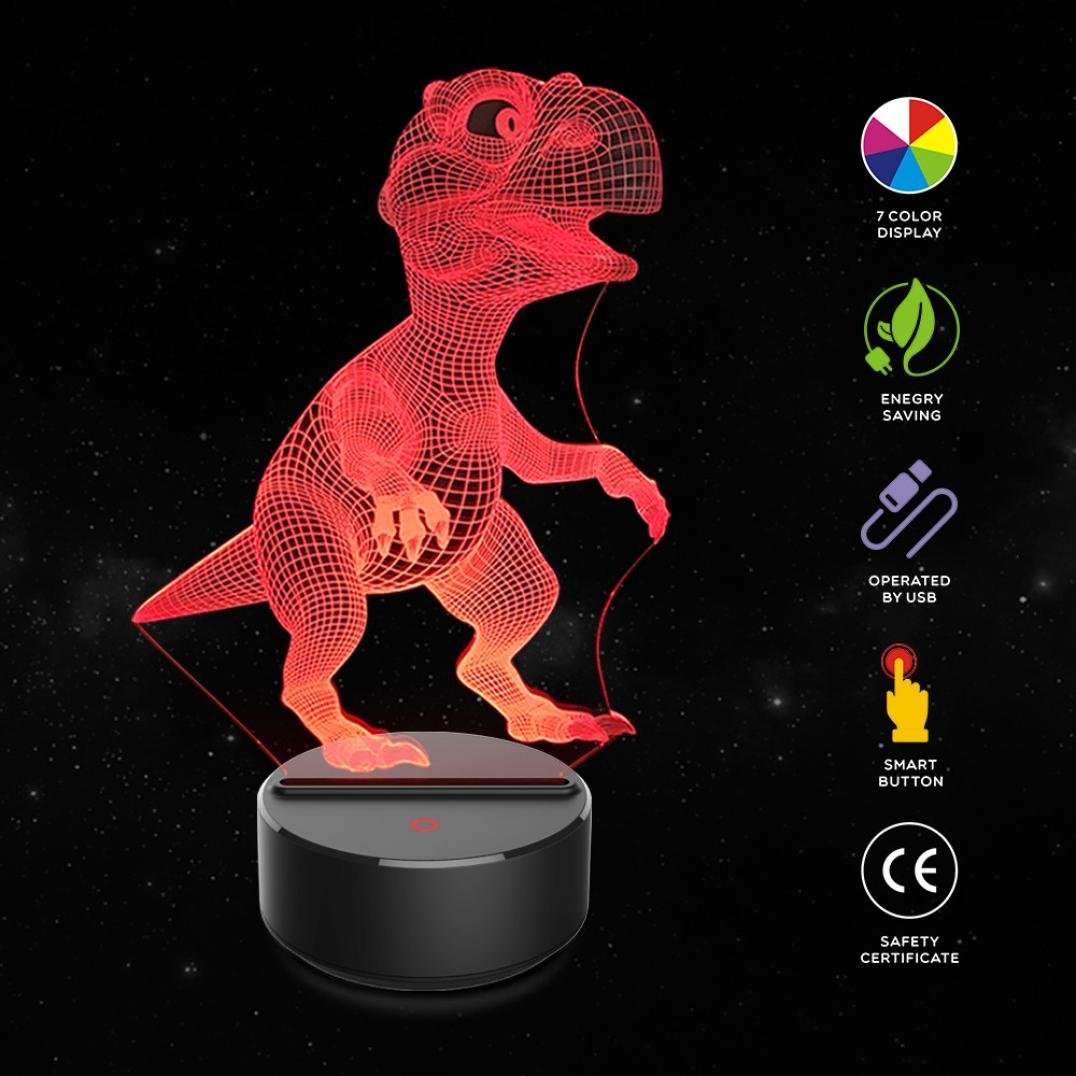 Dinosaur 3D Night Light Table Desk Lamp, KingWo 7 Colors Optical Illusion Touch Control Lights Child'S Birthday Present / Valentine's Day present