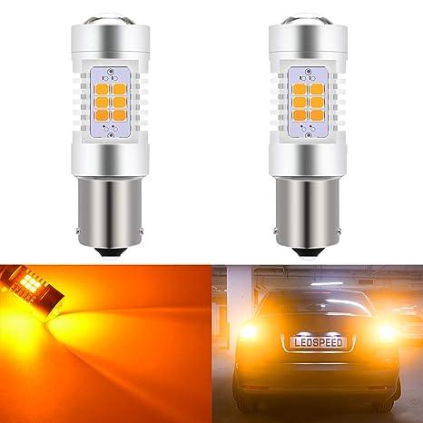 KaTur 7056 1156 BA15S 1141 P21W Bombillas LED ámbar 2835 21SMD 80W Lente de Alta Potencia ...