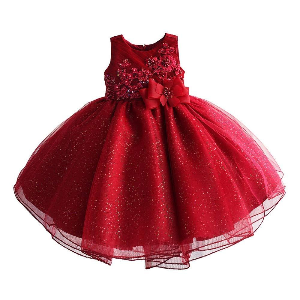 4T WRYUL Robe de soirée pour Filles Robes Enfants Petites Filles Sweet Robe Robe de Demoiselle d'honneur pour Fille Robe de soirée de fête de Bal d'anniversaire (Taille   2T)