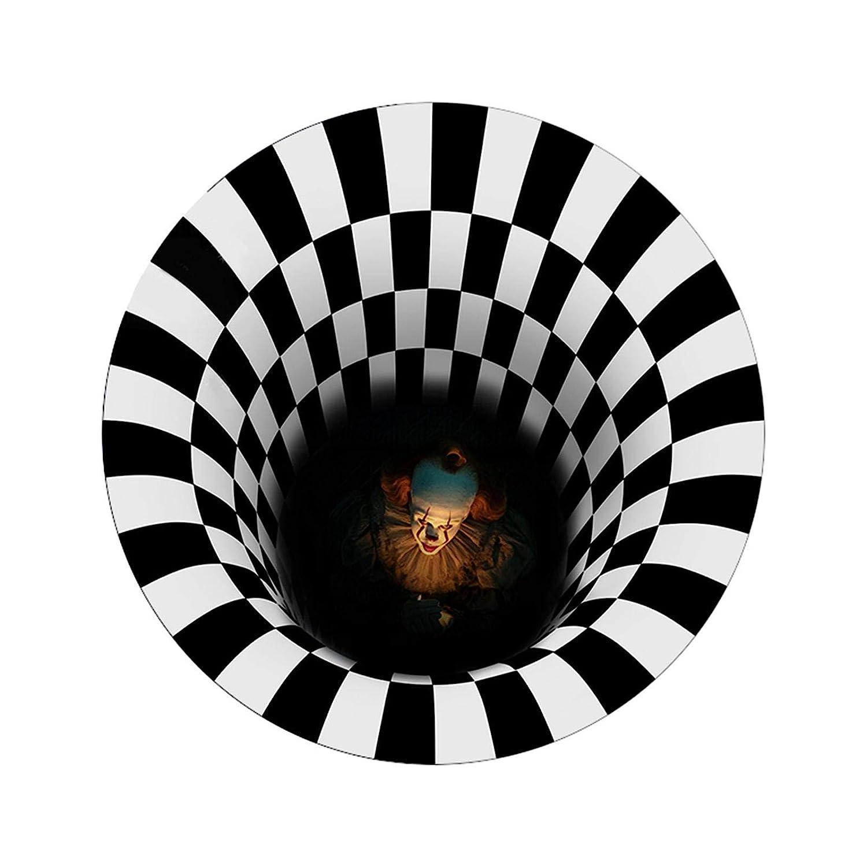Halloween Clown Door Mat, 3D Visual Vortex Clown Floor Rug Decorations Doormat, Black White Plaid Scary Welcome Door Mats Outside Indoor Area Rug Bath Mat Hearth Floor Stair Carpet