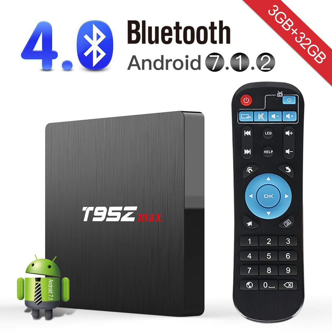 Android TV Box,Kingbox T95Z Max Android 7.1 Smart TV Box 3GB+32GB Amlogic S912 Octa-core A53 2.4/5G Wi-Fi H.265 3D 4K Bluetooth Set Top Box