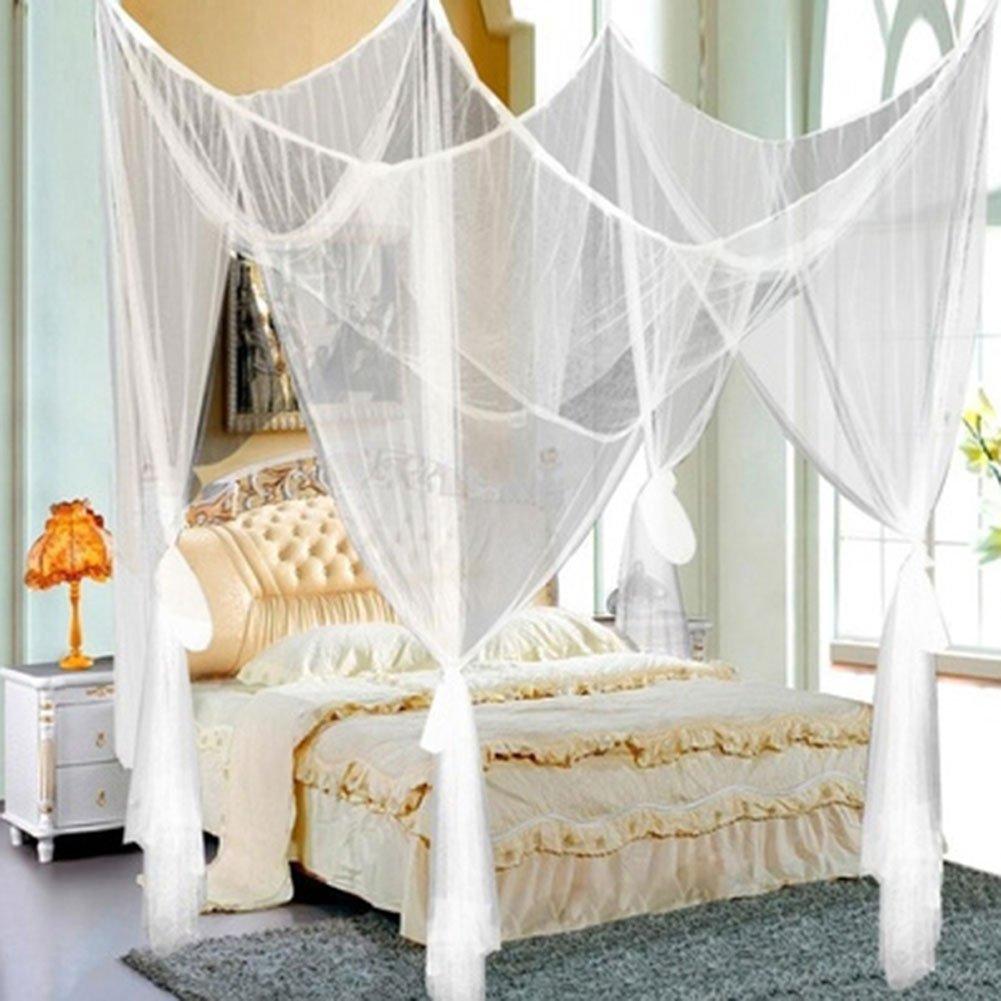 Elife - Mosquitera de 4 esquinas, elegante cama de cuatro pósteres ...