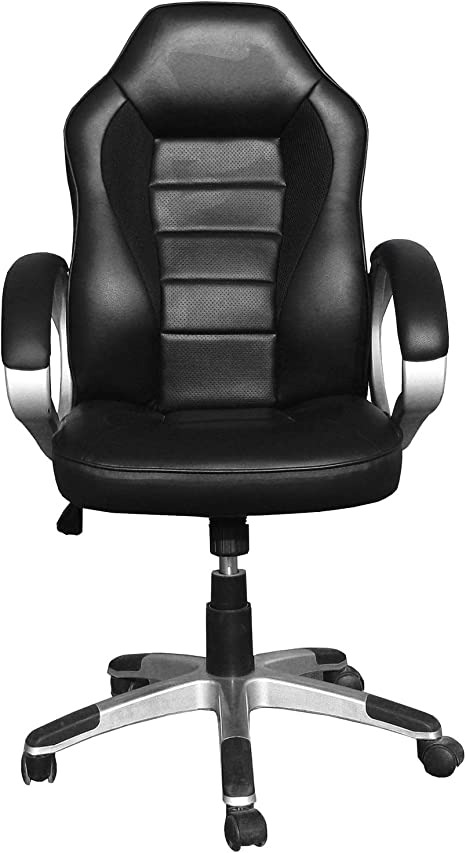 CHAIRMART Office Chair Gaming Computer Desk Padded Swivel Chair PU Leather Black