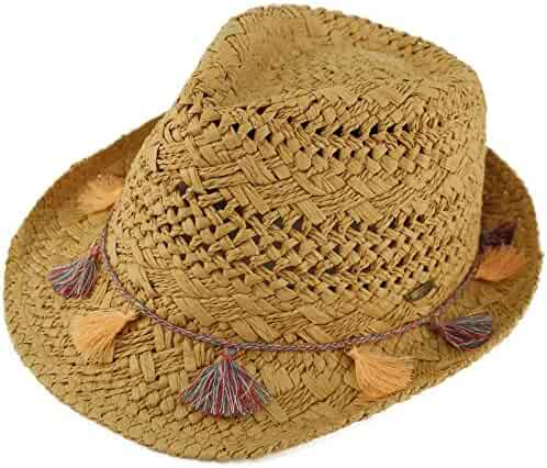 df5b05de4a4357 C.C CC Fringed Tassels Breathable Fedora Trilby Brim 2-1/8 Summer Beach Hat