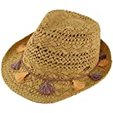 C.C CC Fringed Tassels Breathable Fedora Trilby Brim 2-1/8 Summer Beach Hat Natural