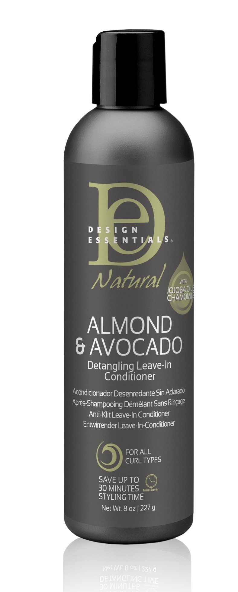 Design Essentials Natural Instant Detangling Leave-In Conditioner for Healthy, Moisturized, Luminous Frizz-Free Hair-Almond & Avocado Collection, 8oz.