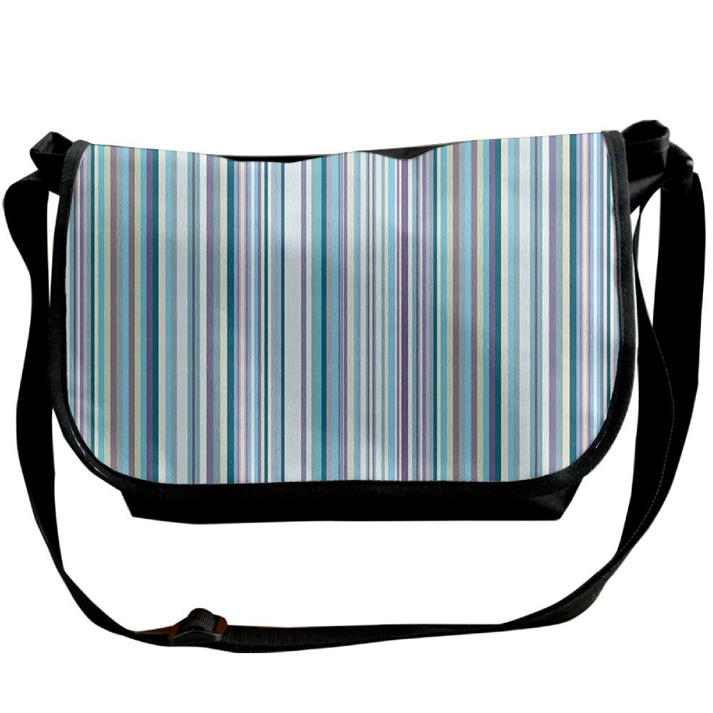 low-cost Kmeiqufan Blue Purple Teal Aqua Lavender Colored Vertical Stripes Geometric Unisex Wide Diagonal Shoulder Bag Adjustable Single Shoulder Backpack