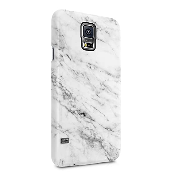 sale retailer a32fd e7e1c Solid White Original Marble Print Hard Plastic Phone Case For Samsung  Galaxy S5