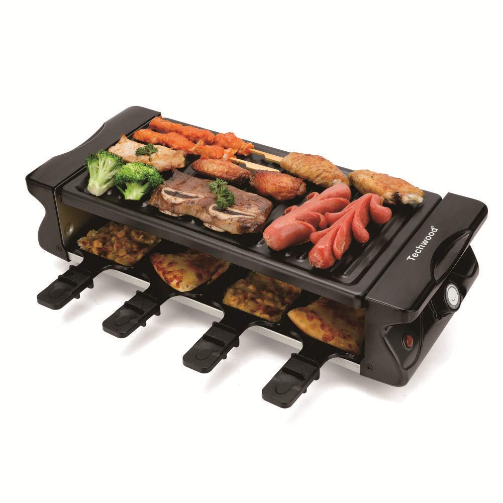 Techwood Raclette Grill with Nonstick Grill Plate, 6-Person Raclette, Black (black3)