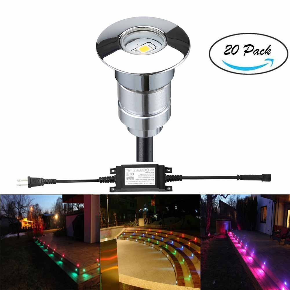 FVTLED LED Step Light Φ0.94'' Low Voltage Outdoor LED Deck lights Garden Mall Yard Decoration Lamps Patio Recessed Stair Landscape Pathway In-ground RGB LED Step Lighting, Pack of 20