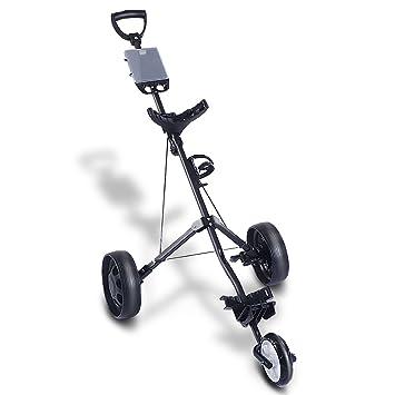 tangkula plegable Tire Empuje carro de golf 3 Rueda Trolley giratorio con portavasos