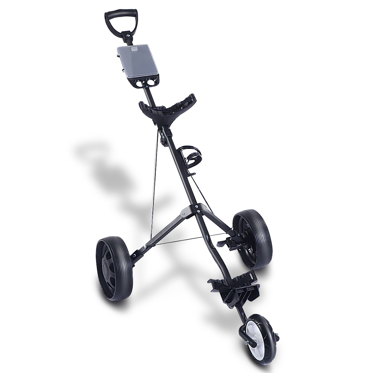 Tangkula Folding Pull Push Golf Cart 3 Wheel Trolley Swivel with Cup Holder
