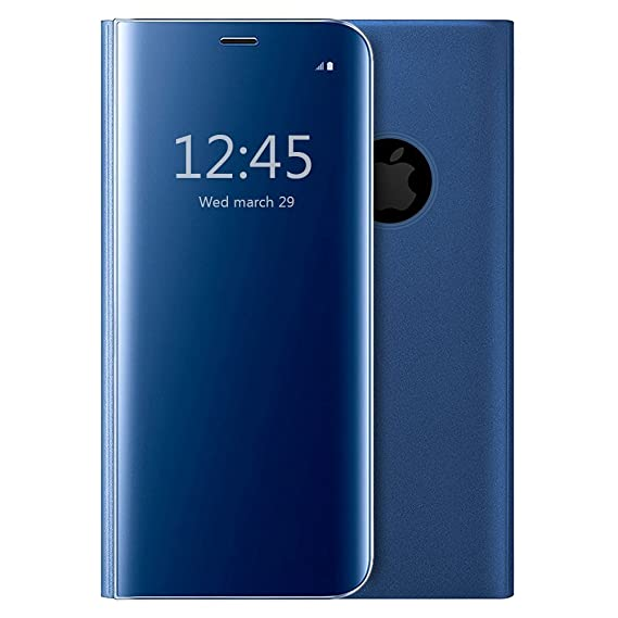 wholesale dealer 77282 06be5 iPhone X Mirror Plating Flip Case,Clear S-View Slim Ultra Thin Perfect Fit  Translucent Mirror Smart Cover for iPhone X (iPhone X Blue)