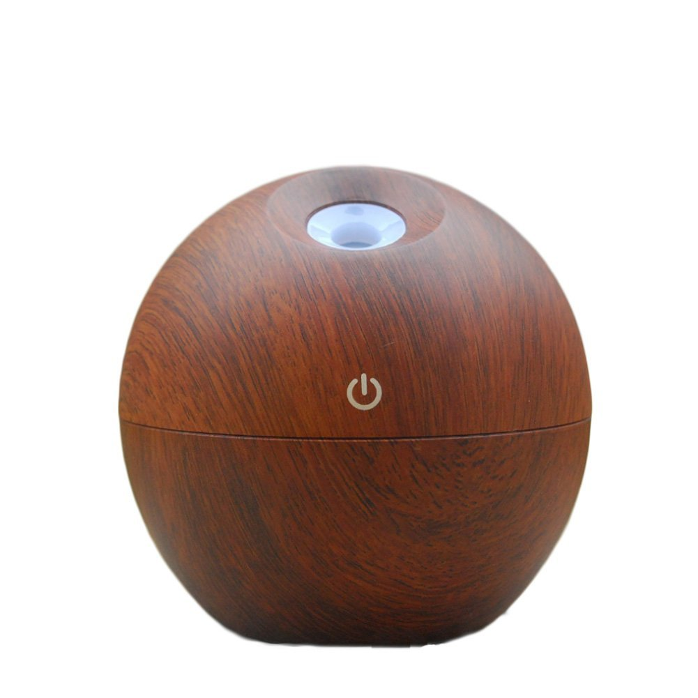 Softmusic Wood Grain Home Aroma Mini Essential Oil Diffuser Purifier Humidifier With LED Light - Brown&Dark Brown