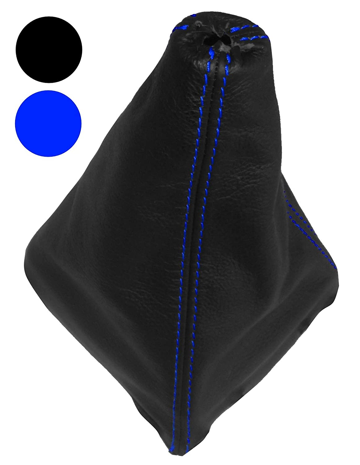 Blue stitching Gear Shift Lever Gaiter Aerzetix Cover made of 100/% Genuine Black Leather