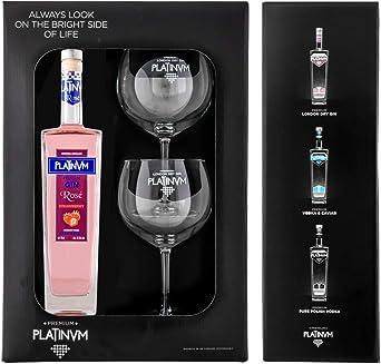 Pack ginebra Premium de fresa Platinvm Rosé 75cl. + dos elegantes ...