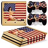 Cheap ZoomHit Ps4 PRO Playstation 4 Console Skin Decal Sticker USA Flag Vintage + 2 Controller Skins Set (Pro Only)