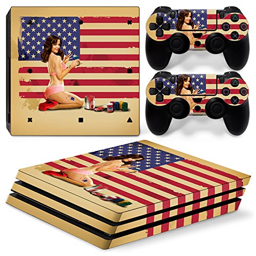 ZoomHit Ps4 PRO Playstation 4 Console Skin Decal Sticker USA Flag Vintage + 2 Controller Skins Set (Pro Only)