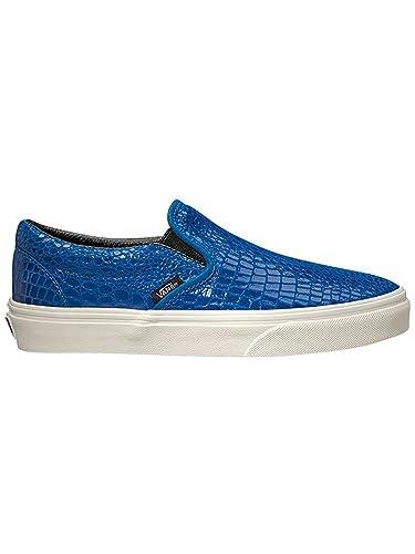 Vans CLASSIC SLIP ON (Snake Leather) Blue Women's Shoes Size 6 - Men 4.5