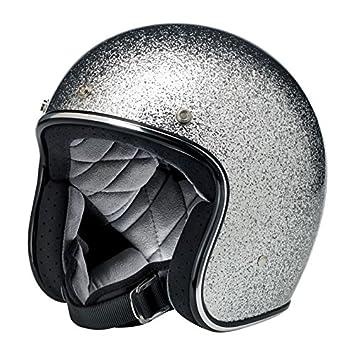 Casco Jet Biltwell Bonanza Helmet Brite Silver Metalflake plateado purpurina XS plateado
