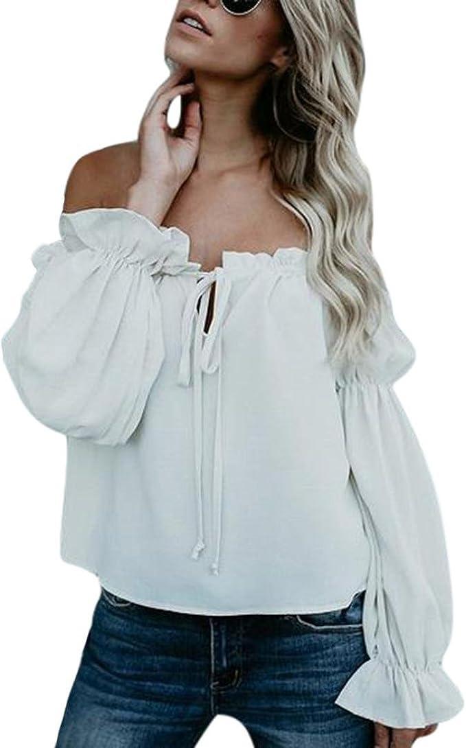 Blusen Damen Langarmshirt Weiß Frauen Sommer Schulterfrei