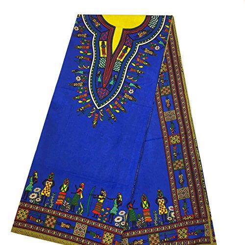 (African Dashiki Fabric Unwaxed Ankara 100% Cotton By The Panel Yard BLUE (1 PANEL))