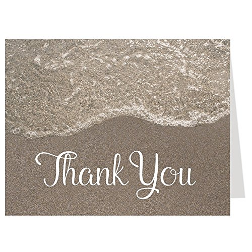 Sandy Shower, Thank You Cards, Tan, White, Beach Theme, Bridal Shower, Wedding Shower, Sand, 50 Folding Notes with Envelopes