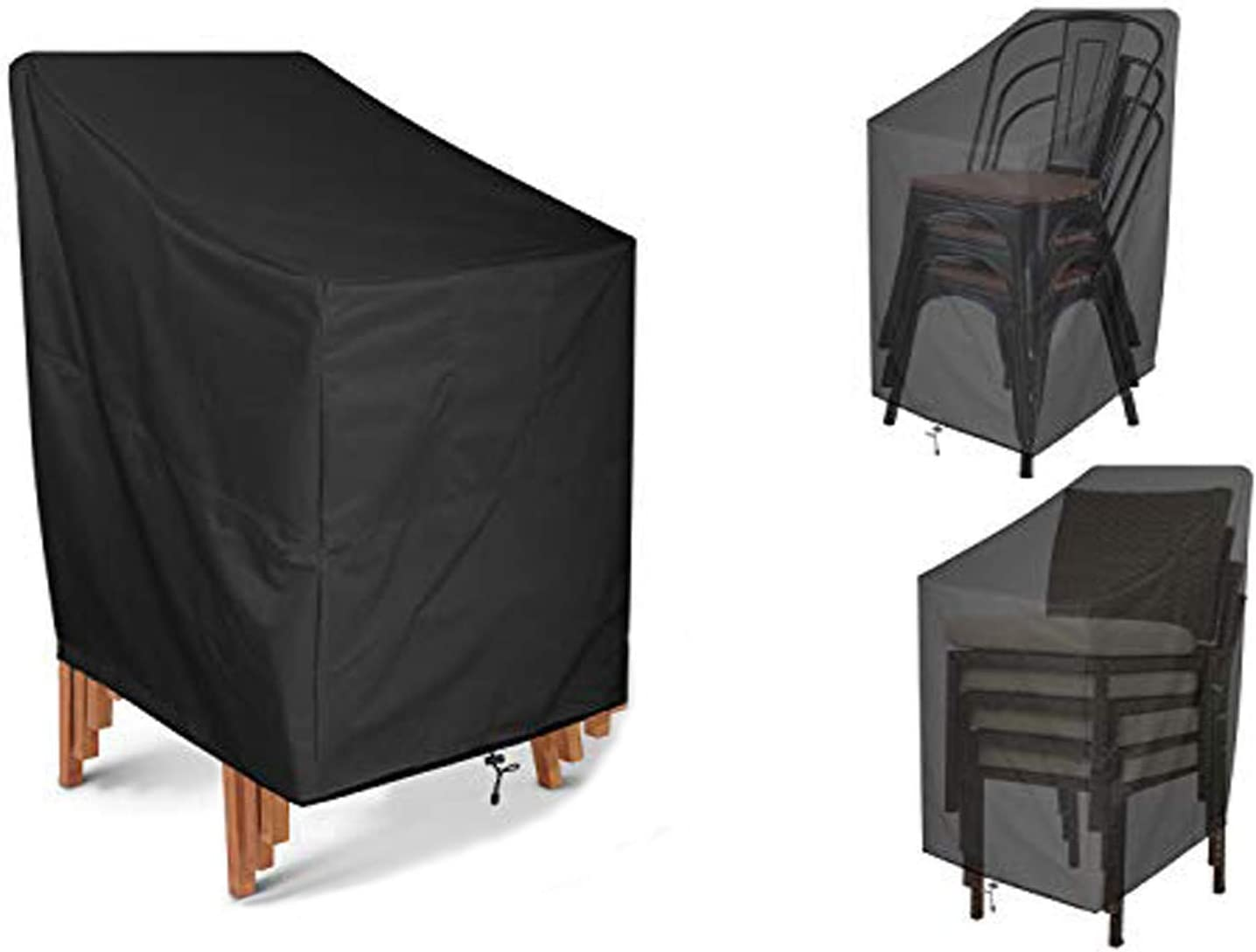 JJCKHE Patio Chair Cover, Heavy Duty High Back Chair Cover Durable & Waterproof Outdoor Furniture Stackable Chair/Veranda Lounge Deep Seat Cover Protection Cover, Black