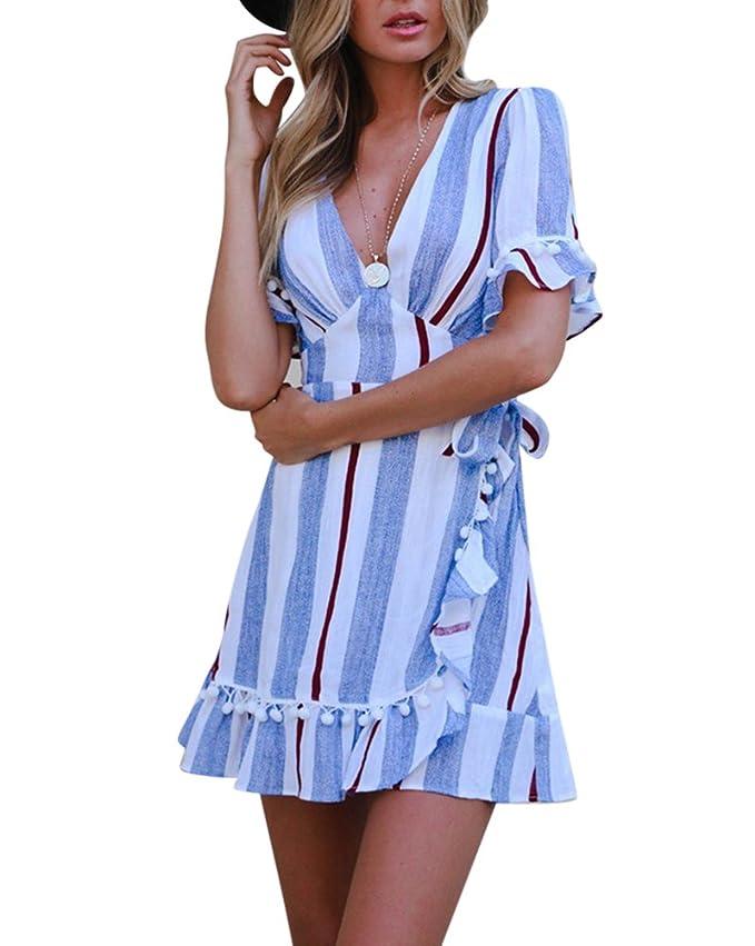 95a184188289 Damen Sommerkleider Kurzarm V-Ausschnitt Strand Druck Kleider Abendkleid  Blau X-Large  Amazon.de  Bekleidung