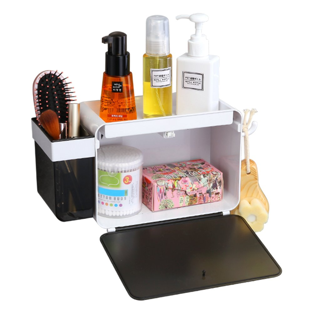 SUPERVIN Adhesive Shelf Storage Organizer with Hook for Bathroom No Drilling Wall Mounted Kitchen Rack Suction Cup Shower Caddy