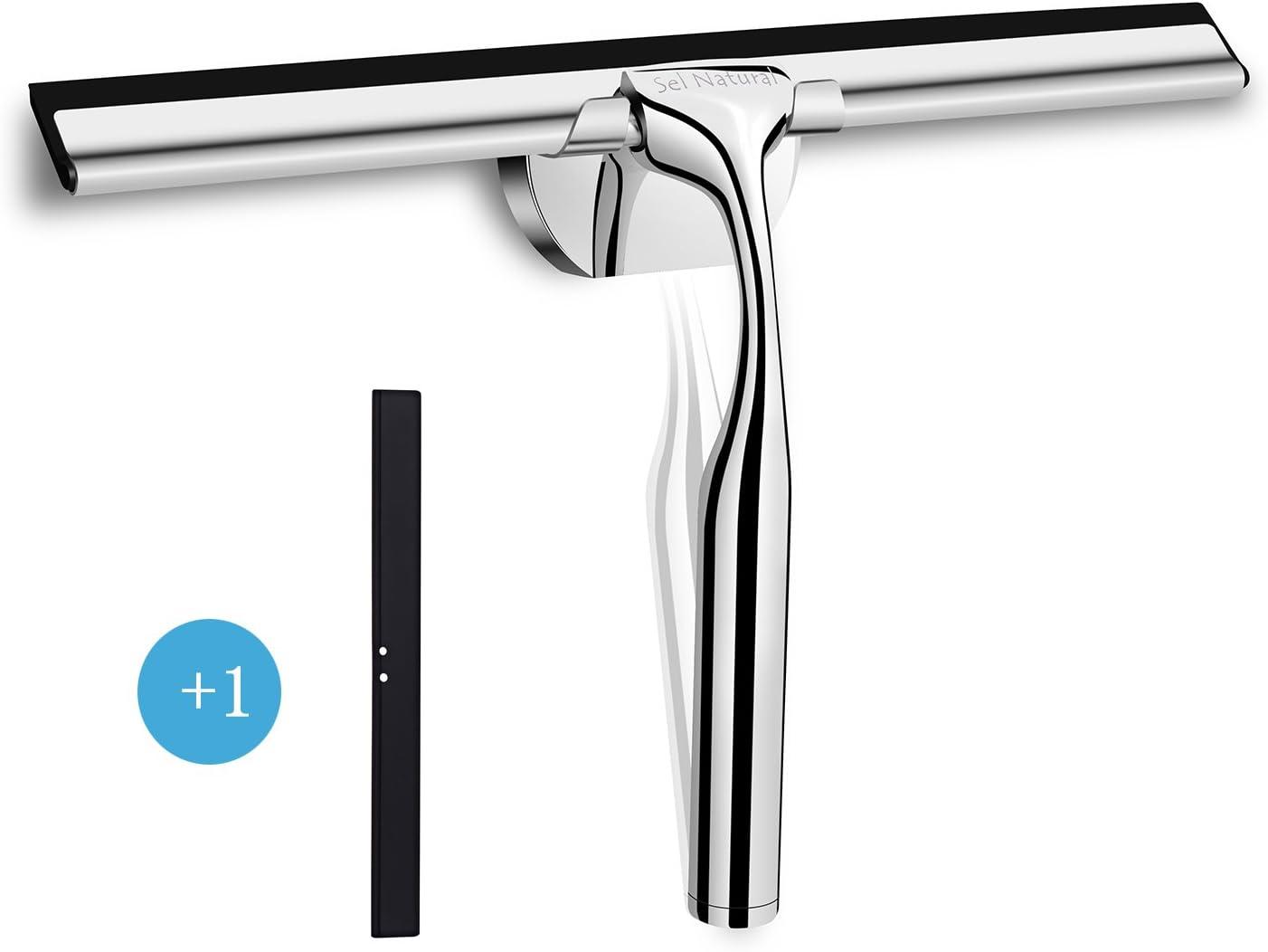 Limpiacristales Sel Natural, limpiador de ventanas de acero inoxidable para espejos del baño, ventanas de cristal, 25 cm: Amazon.es: Hogar