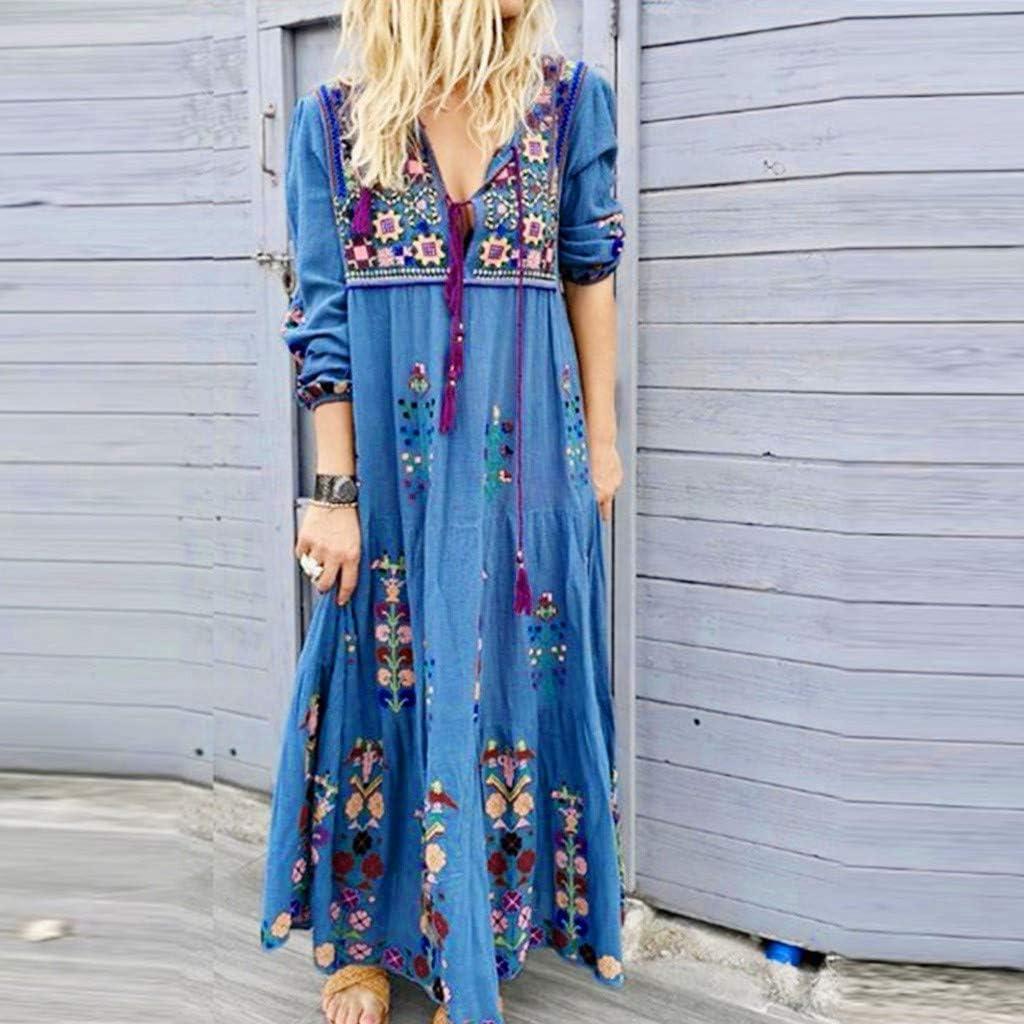 Belle Femme Robe Coton Manche longue Couture de dentelle Col V Casuel Dresse