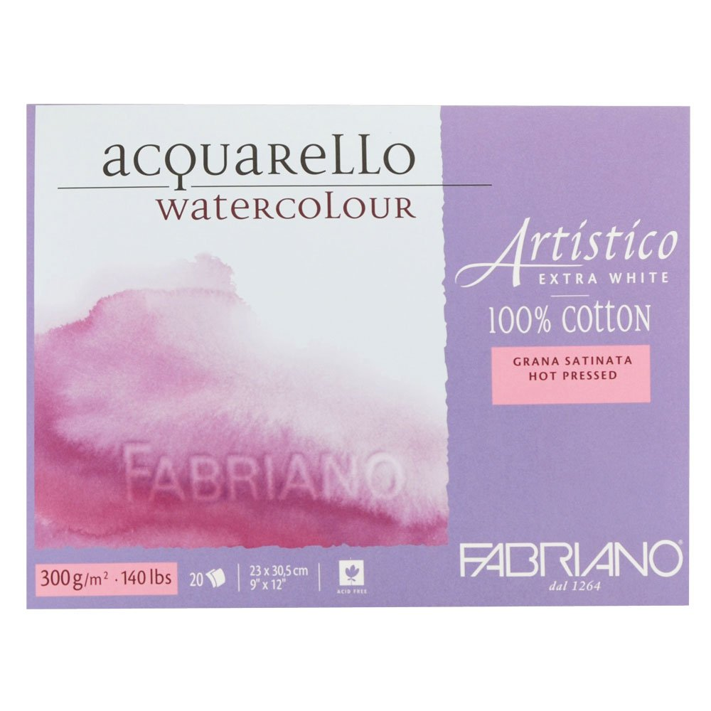 Fabriano Artistico Watercolor Extra White Block 9''x12'' 300gsm HP 20 Sheets by Fabriano