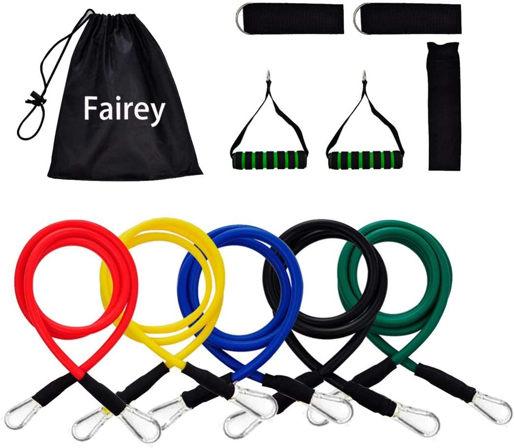 Suspension Fairey Exercise and Resistance Bands Set Home Gym Fitness Yoga Stackable up to 100 lbs Workout Tubes for Indoor and Outdoor Sports Baseball Softball Training Speed Strength