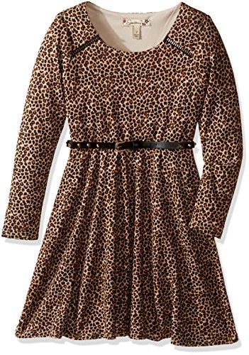 Speechless Big Girls' Hatchi Animal Print Dress, Brown/Natural, 14 (Animal Dress For Kids)