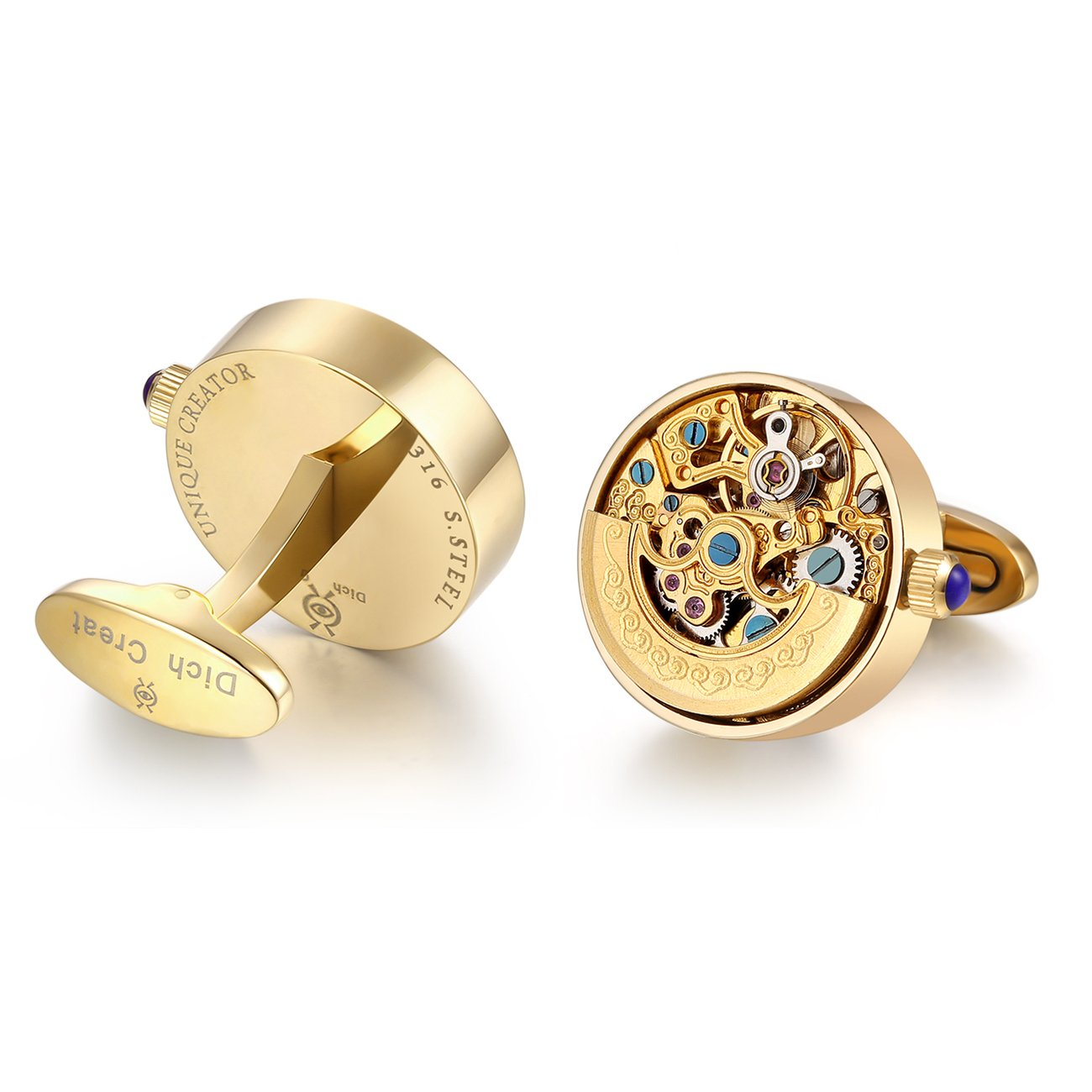 Dich Creat Stainless Steel Skeleton Automatic Golden Working Movement Cufflinks by Dich Creat
