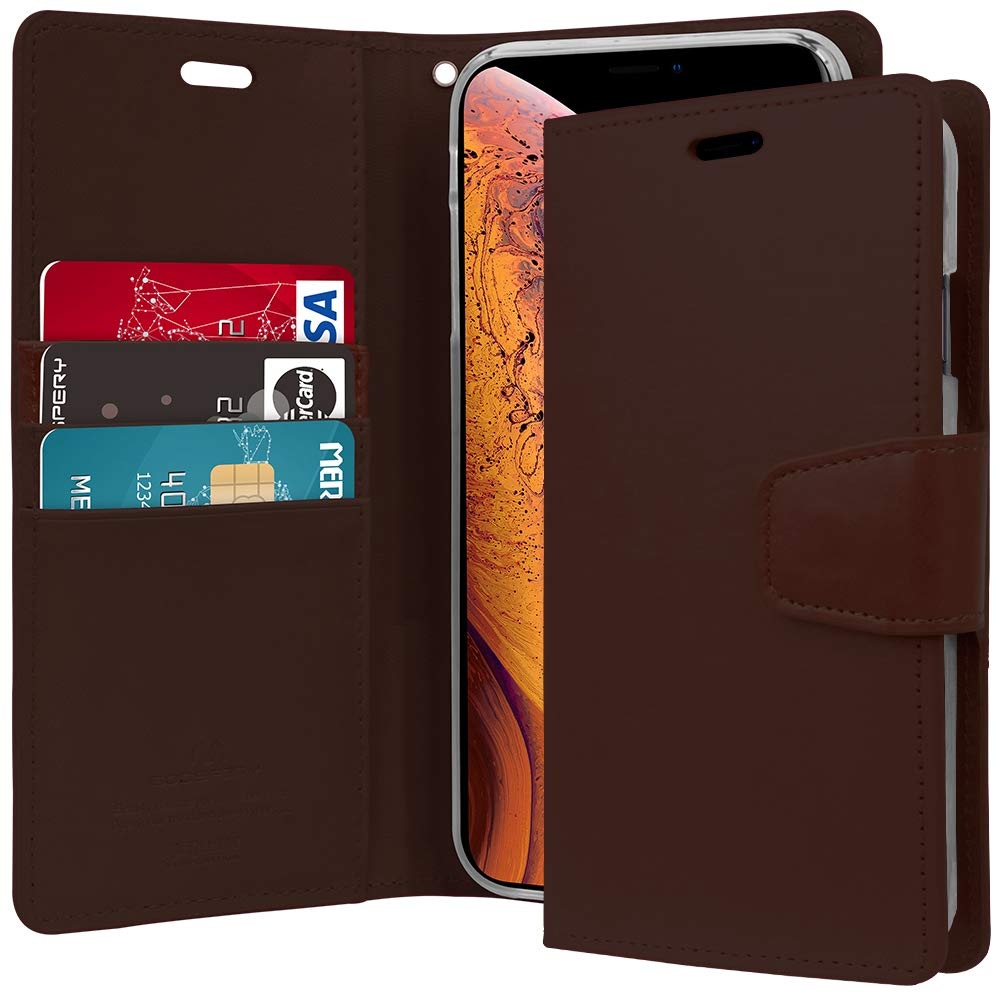 Iphone Xs Case X Slim Fit Goospery Blue Moon Flip Brown Wallet Drop Protection Premium Pu Leather Tpu Casing Stand Cover For