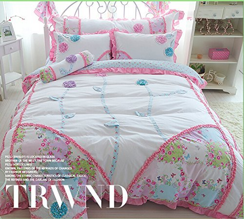 Norson Summer Child Bedding New Arrival,girls Romance Pastoral 3d Flower Pink Blue,princess Falbala Bed Skirt 6pcs (Pink, 5 feet) by Norosn bedding set (Image #2)