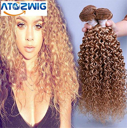 ATOZWIG Malaysian kinky curly 3 bundles honey blonde 27# ...