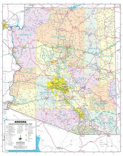 Arizona Wall Map (Arizona Counties and Roads Small Wall Map Dry Erase Laminated)