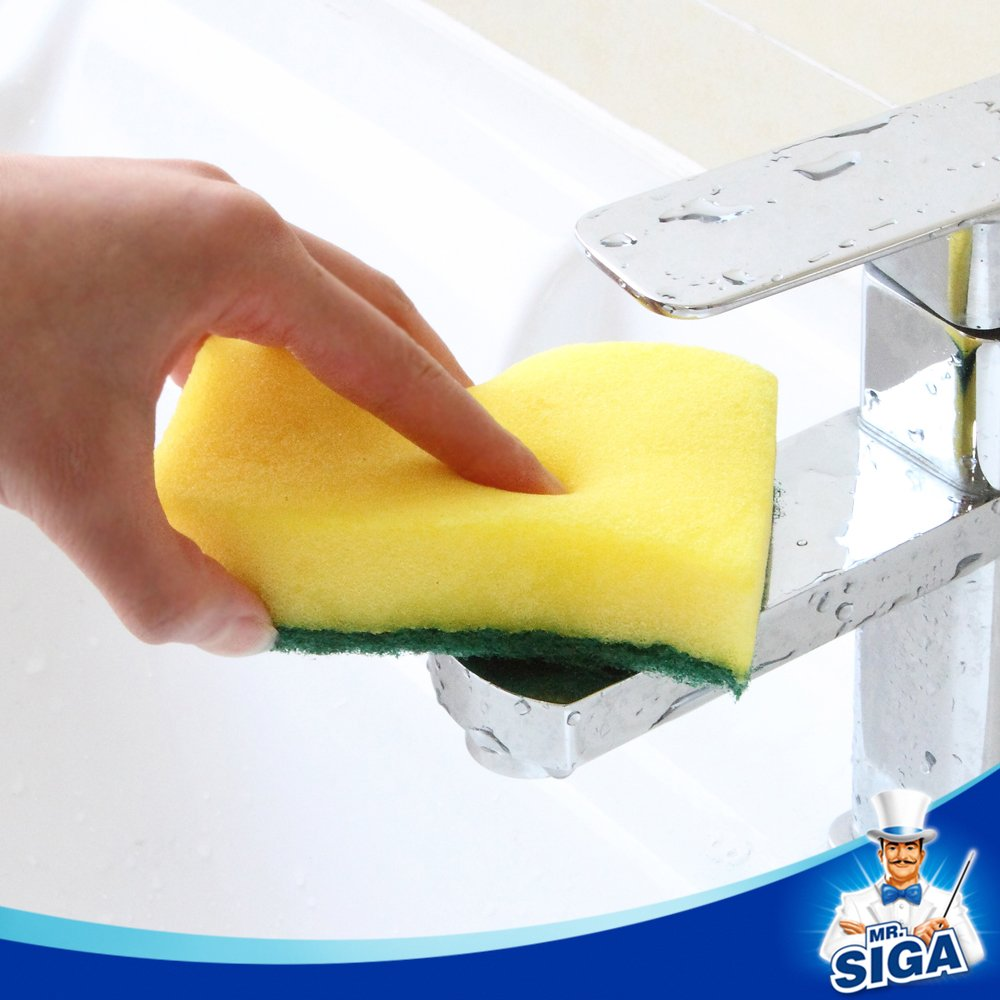 MR. SIGA Heavy Duty Scrub Sponge, 24 Count, Size:11 x 7 x 3cm, 4.3'' x 2.8'' x 1.2''