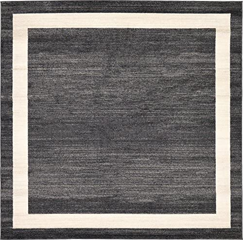 Unique Loom Del Mar Collection Contemporary Transitional Black Square Rug 8 0 x 8 0