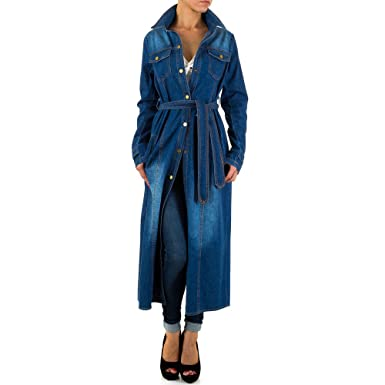 Ital-Design Used Look Jeans Mantel Für Damen, Blau In Gr. M  Amazon ... 36a66bddc6